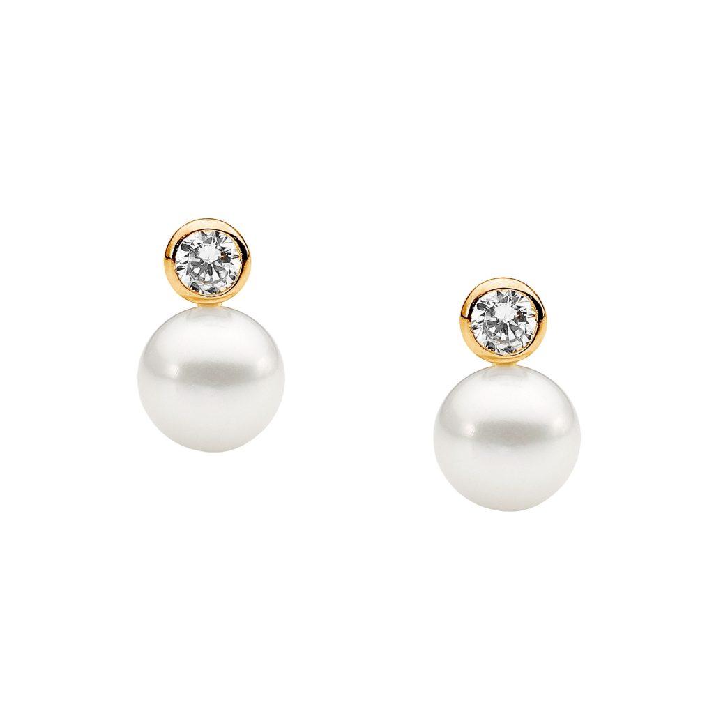 Ellani Freshwater Pearl  Silver/Gold Earring