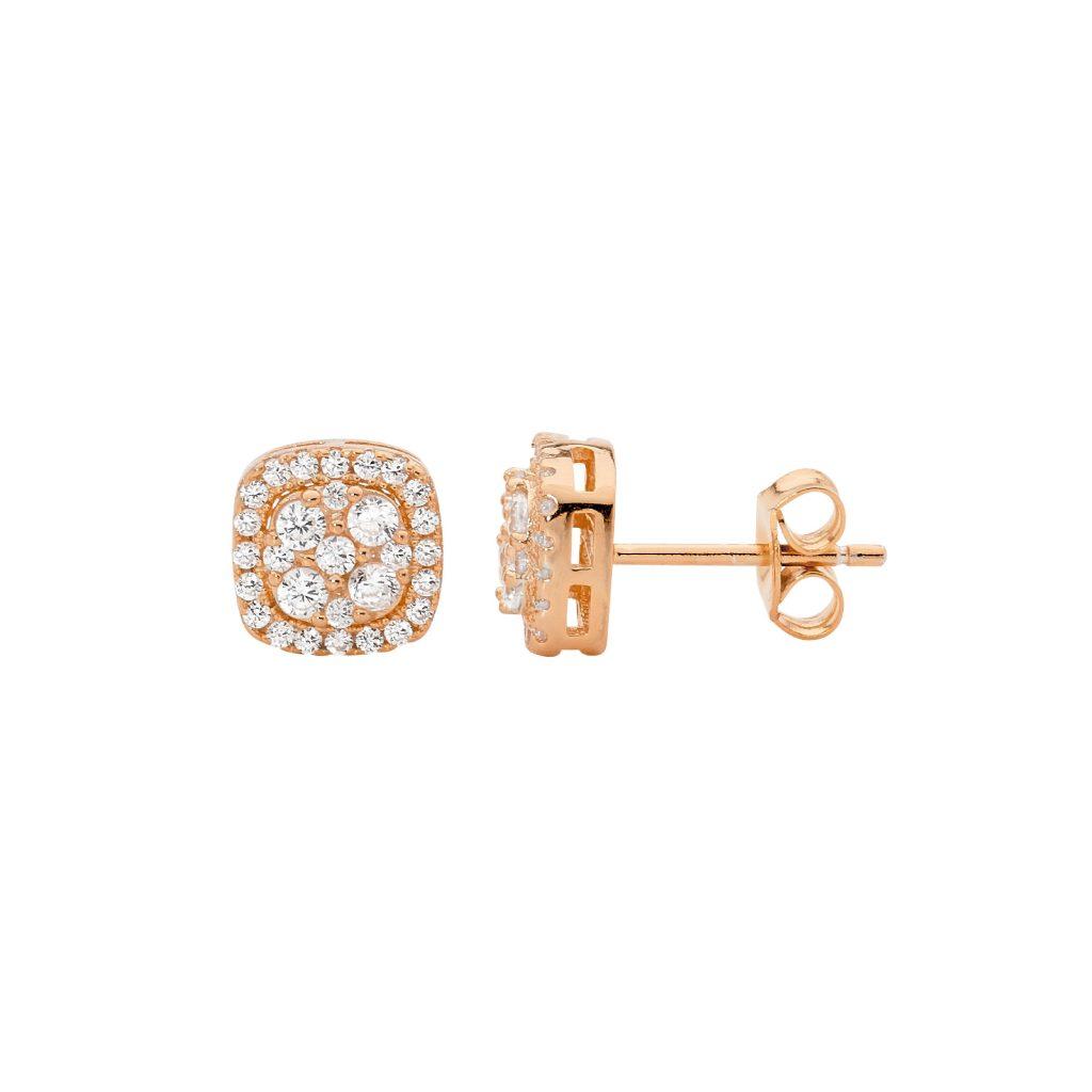 Ellani Sparkling CZ Silver/Rose Studds Earring