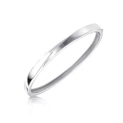 Bruening Silver Hinged Bangle