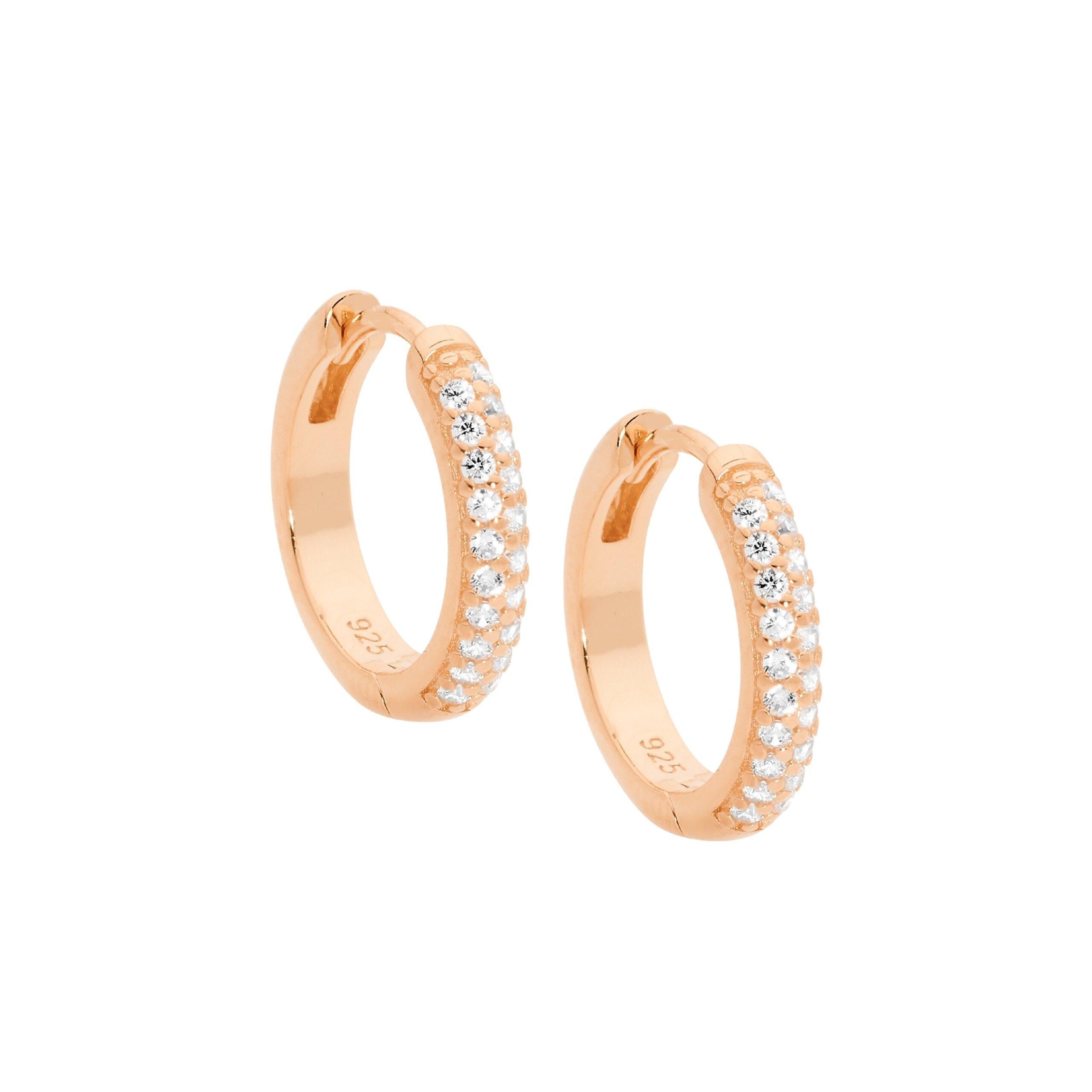 Ellani Sparkling CZ Silver/Rose Hoop Earring