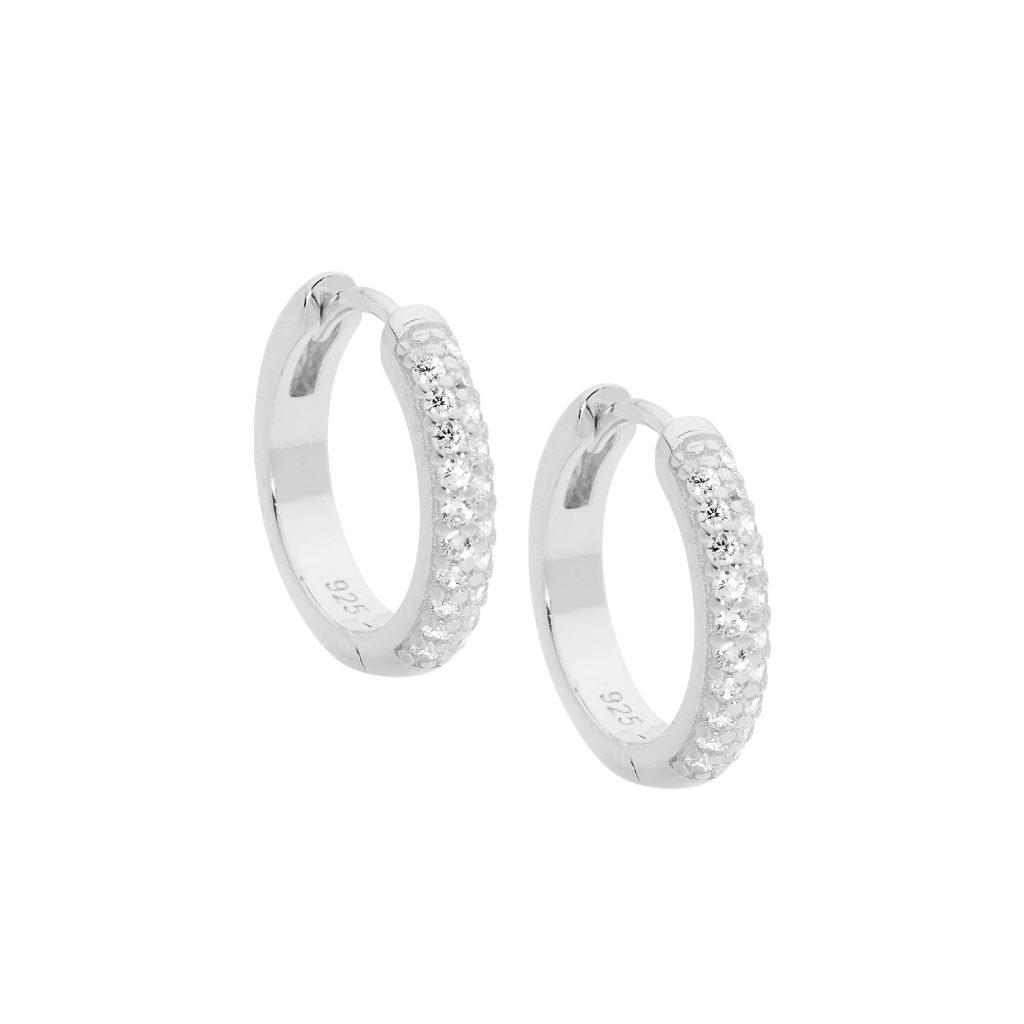 Ellani Sparkling CZ Silver Hoop Earring