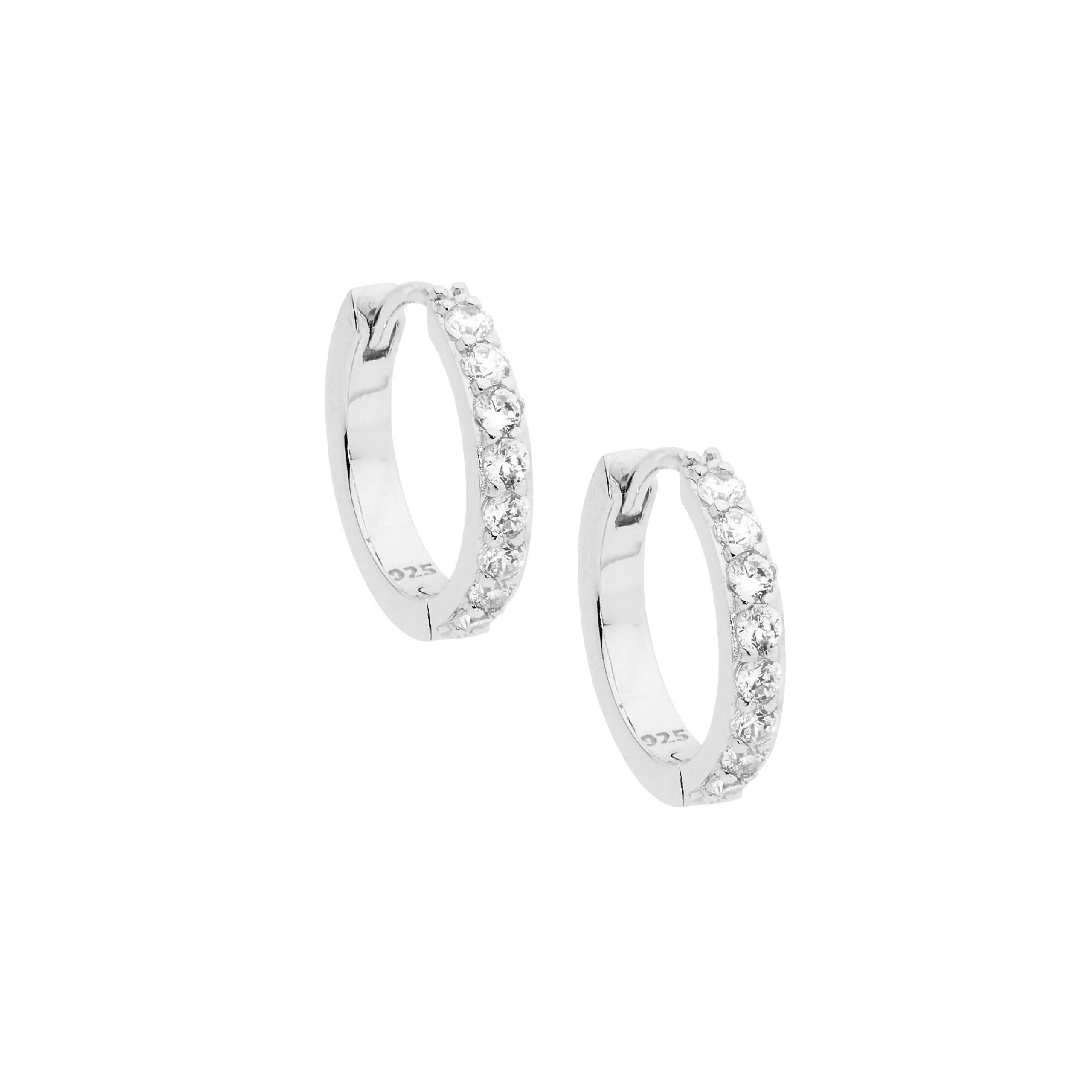 Ellani Sparkling CZ Silver Huggies Earring