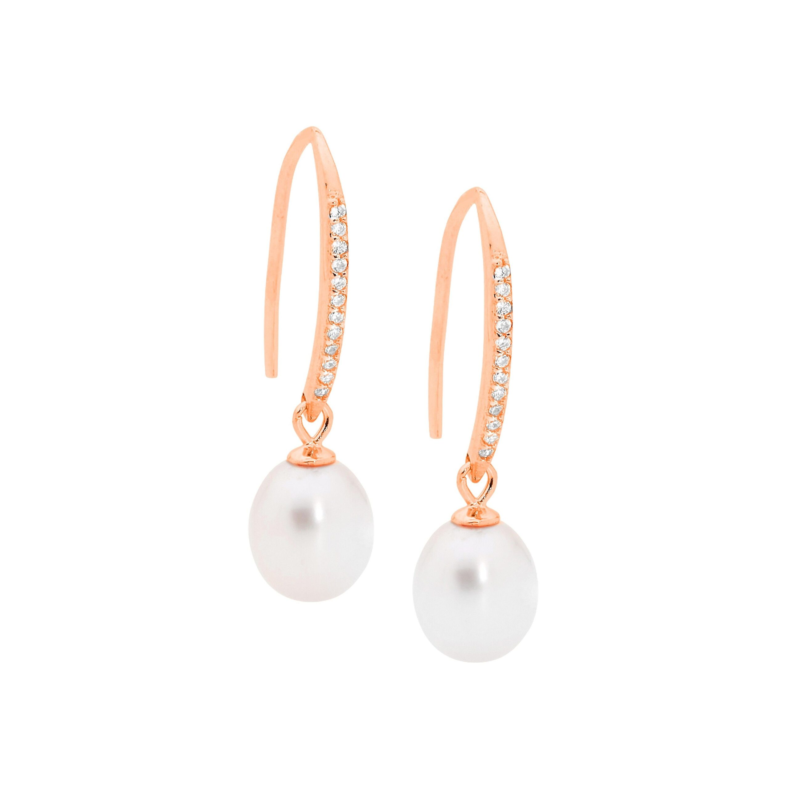 Ellani Freshwater Pearl CZ Silver/Rose Earring