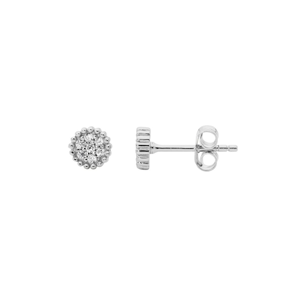 Ellani Sparkling CZ Silver Studds Earring