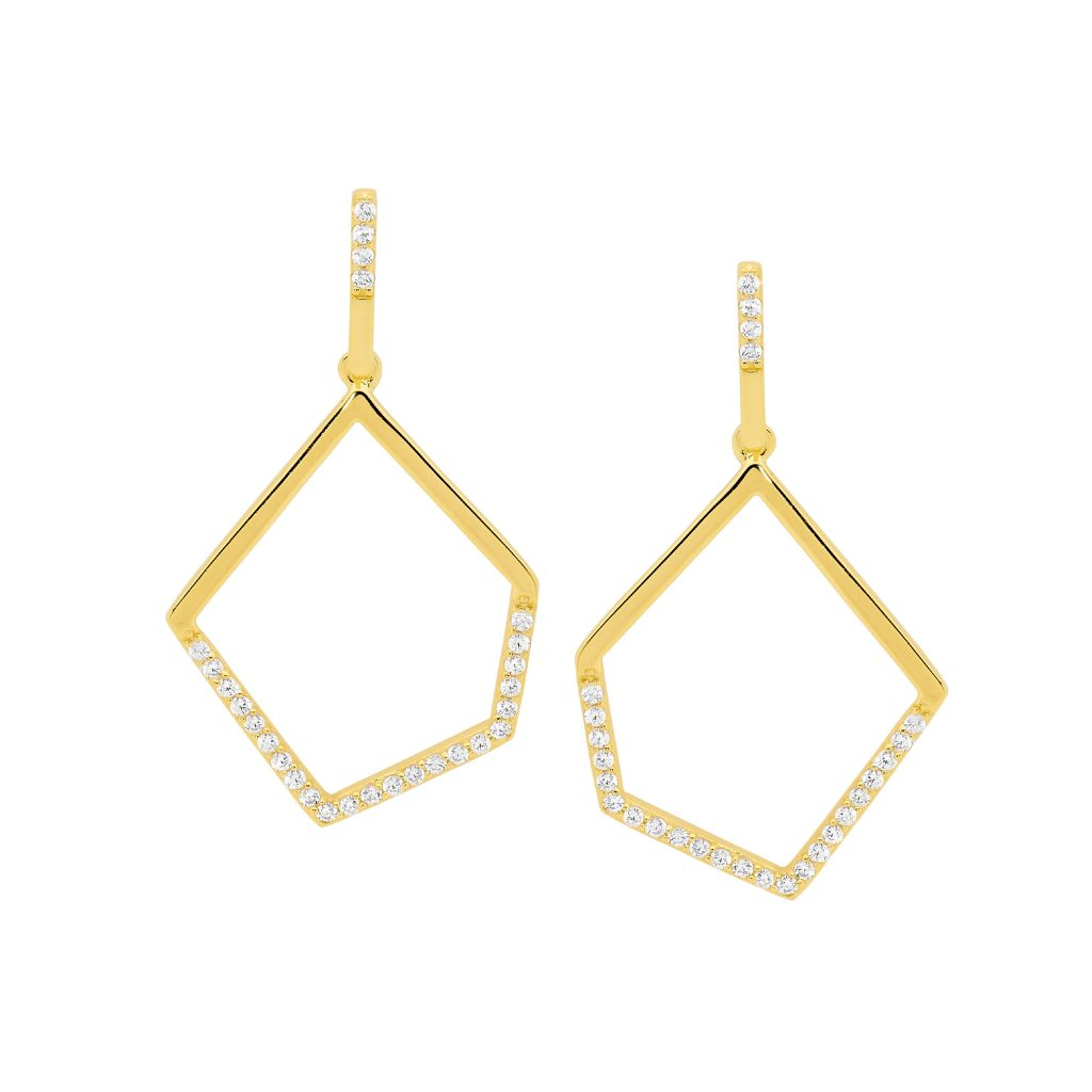 Ellani Sparkling CZ Silver//Gold Drop Earring
