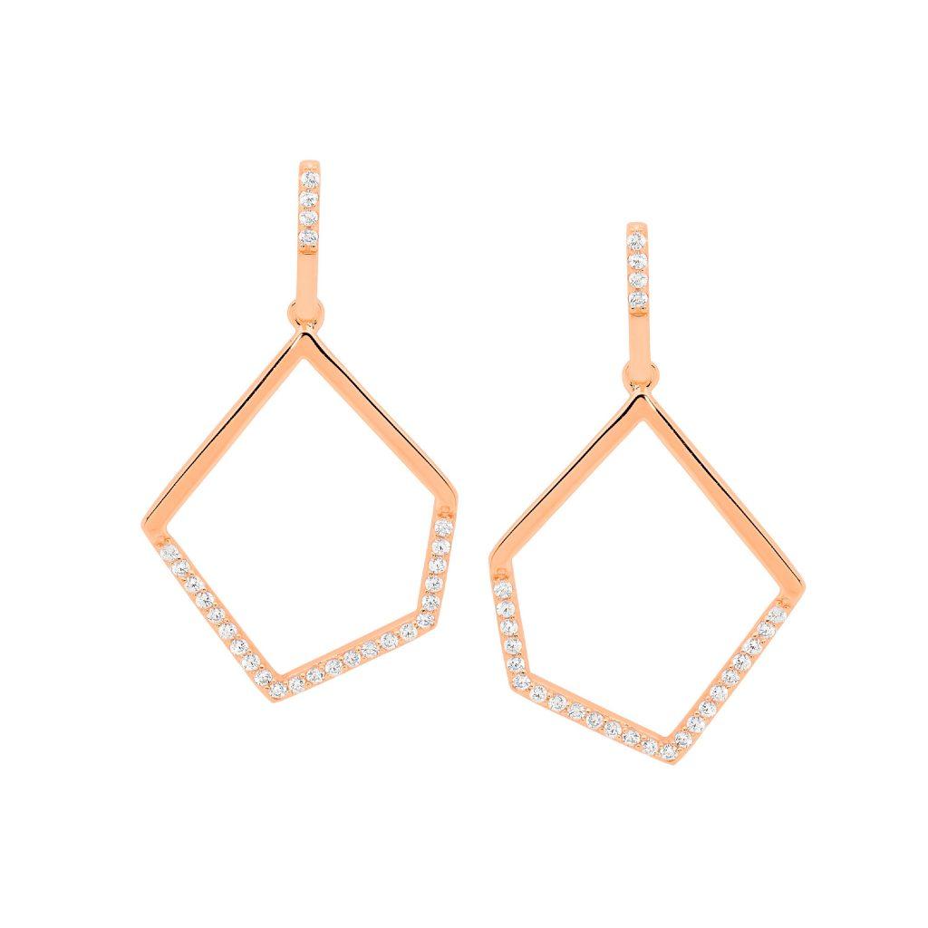 Ellani Sparkling CZ Silver/Rose Drop Earring
