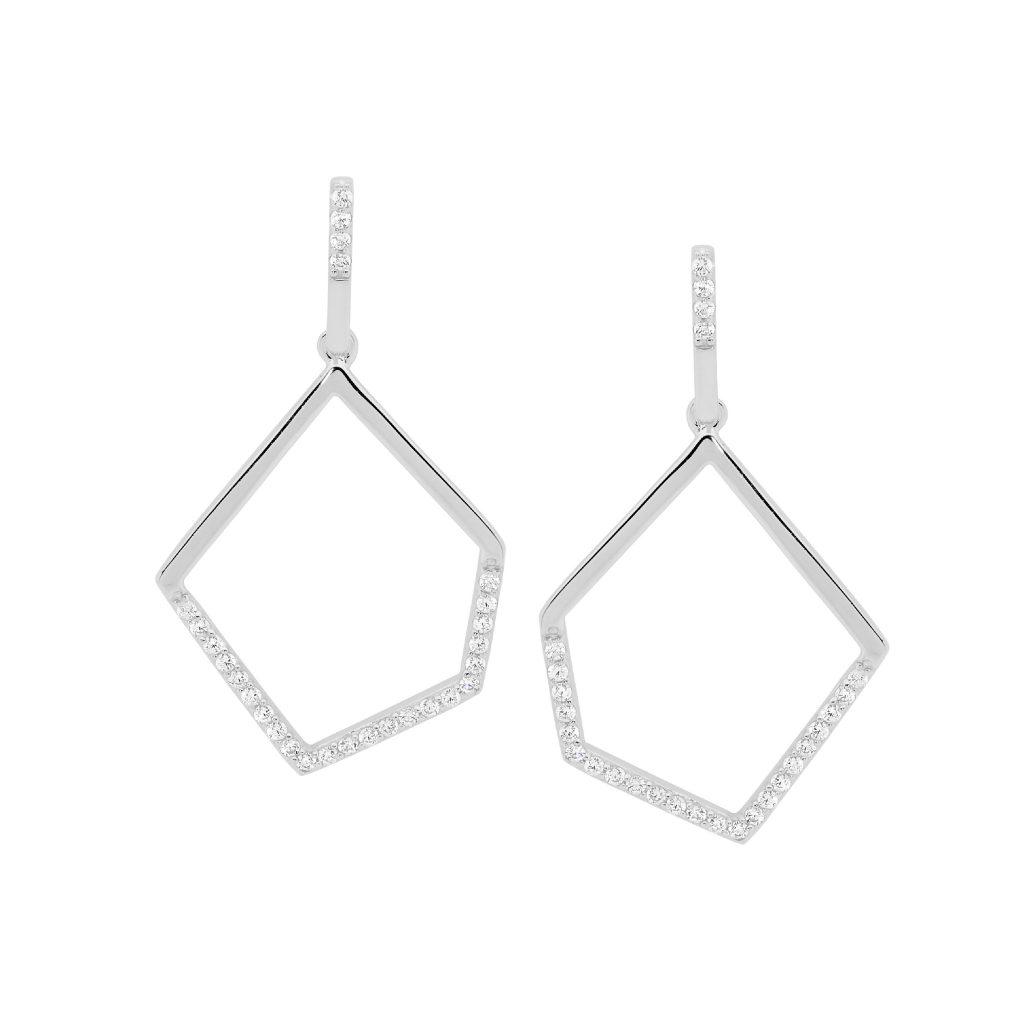 Ellani Sparkling CZ Silver Drop Earring