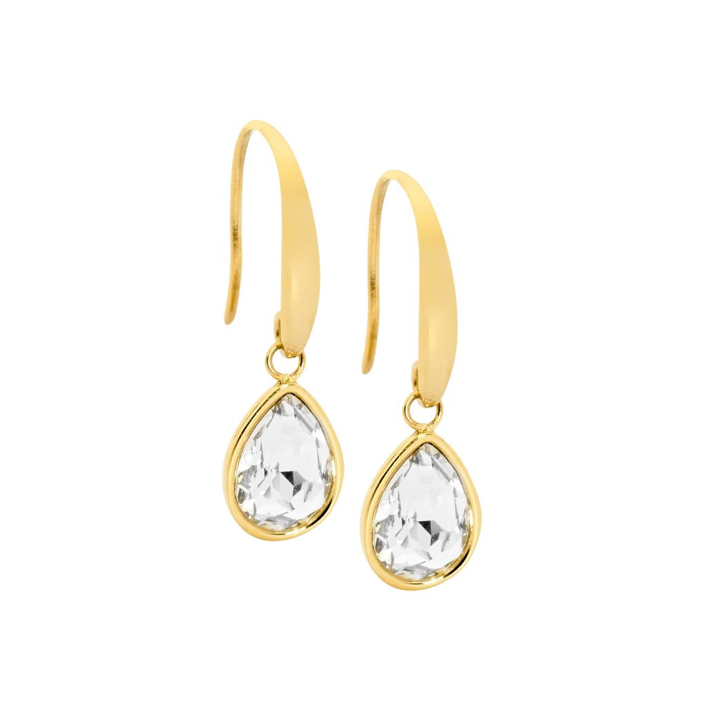 Ellani Sparkling CZ Stainless Steel IP-Gold Earring