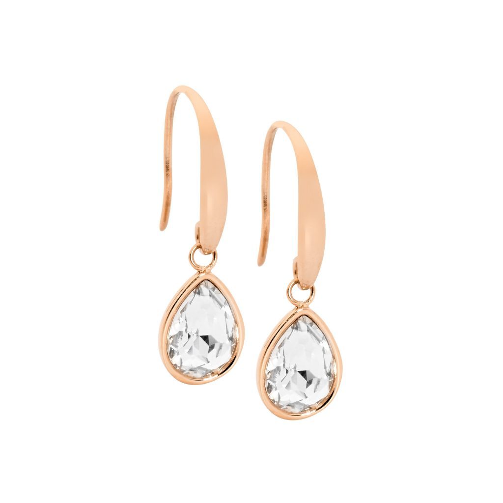 Ellani Sparkling CZ Stainless Steel IP-Rose Earring